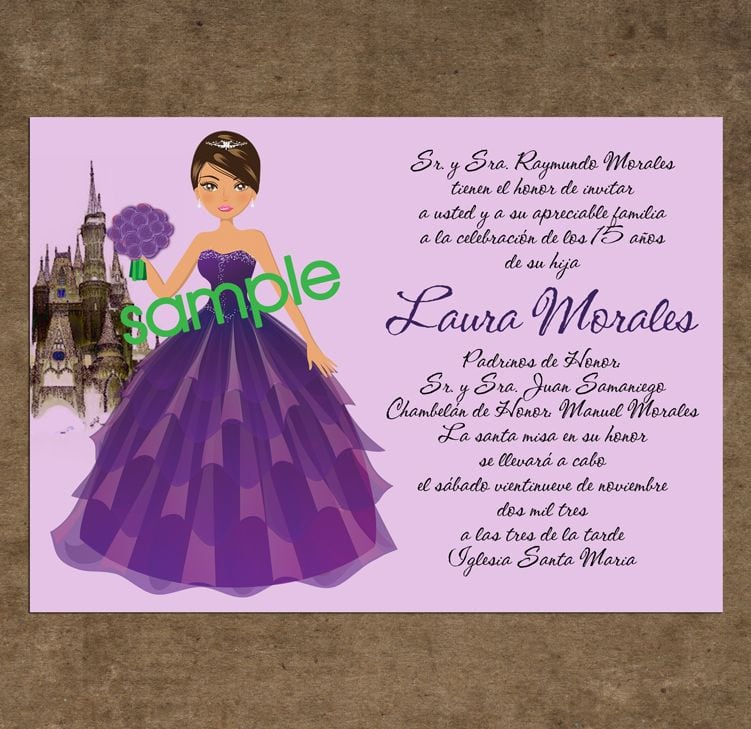 Invitation For Quinceaneras Samples