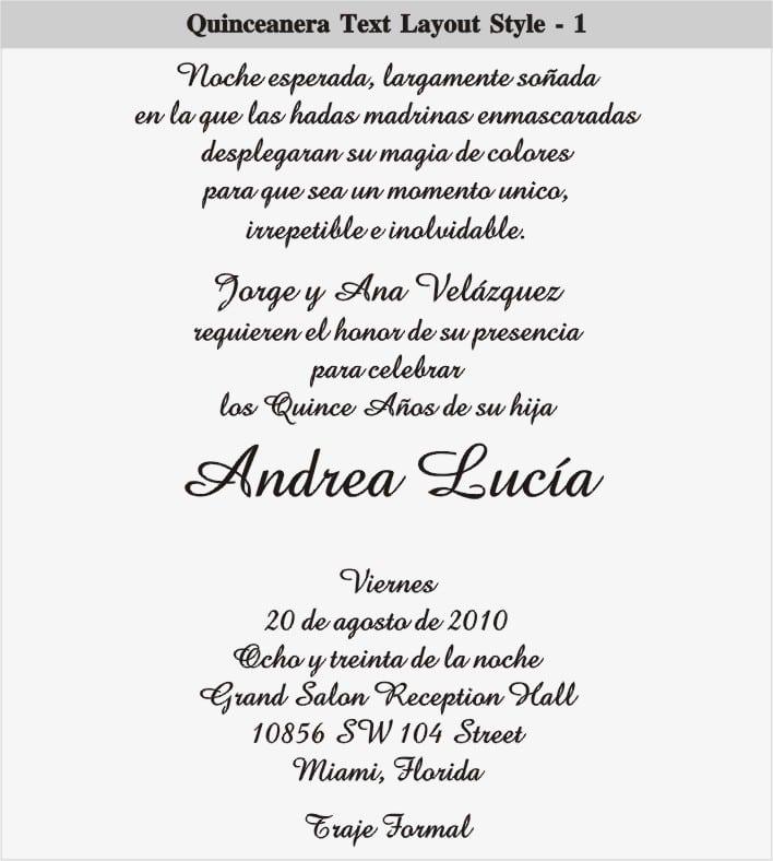 Invitation For Quinceaneras Wording