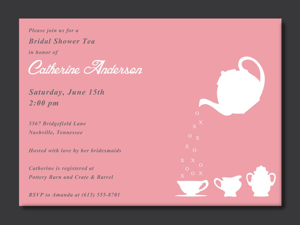 Invitation To A Tea Party Wording