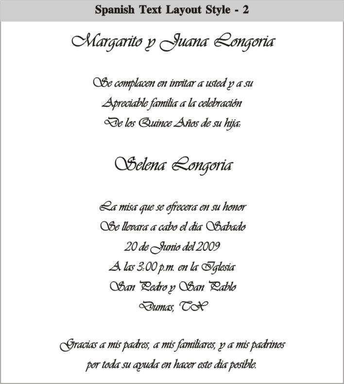 Invitation Wording For Quinceaneras Spanish