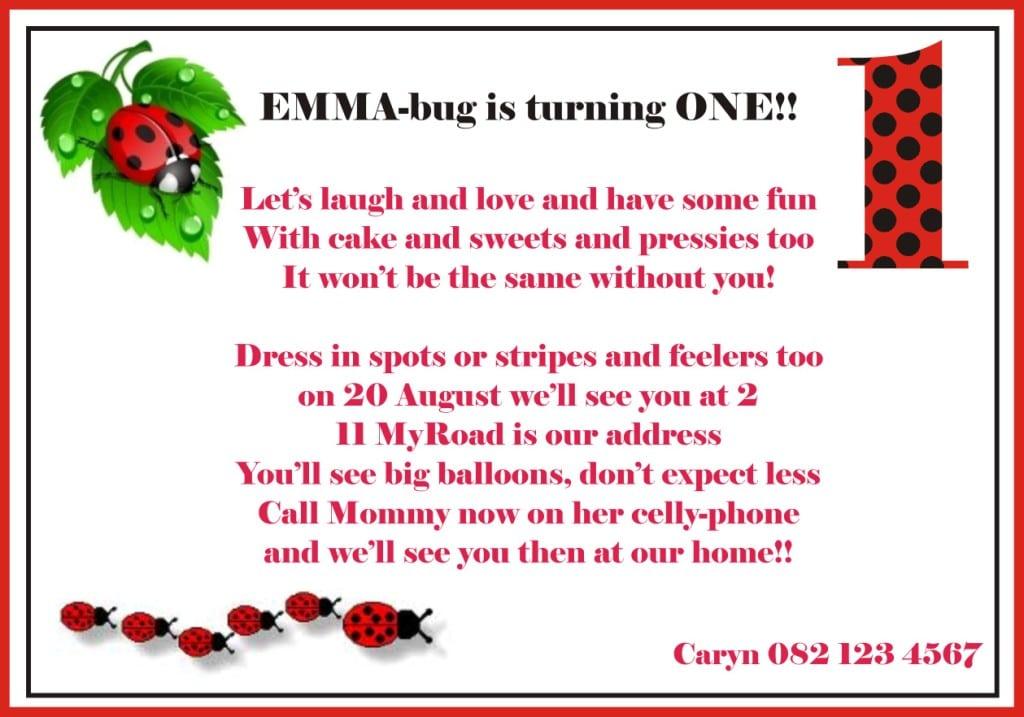 Ladybug Birthday Invitation Wording