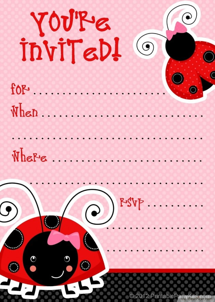 Ladybug Birthday Invitations Template Free