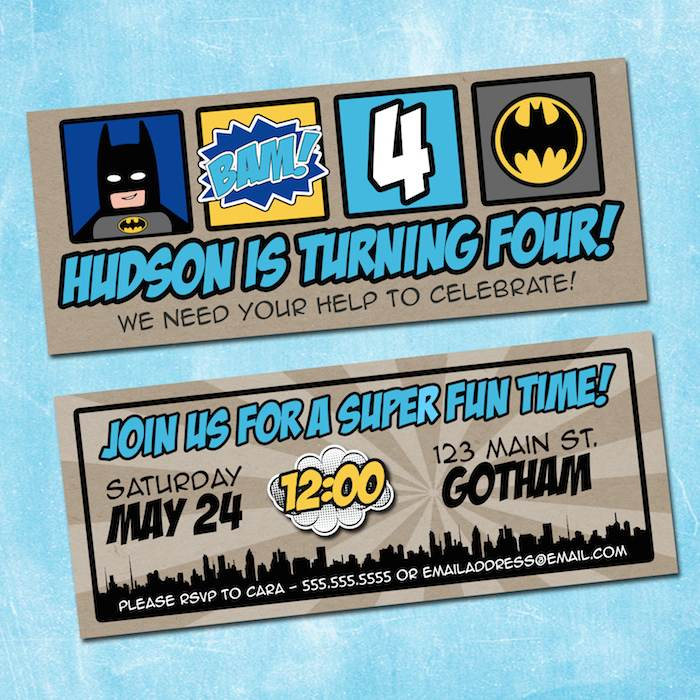 Lego Batman Party Invitation Printable