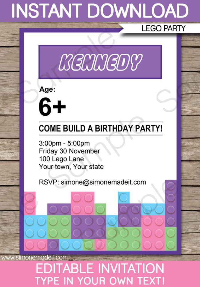 Lego Friends Birthday Invitation Template