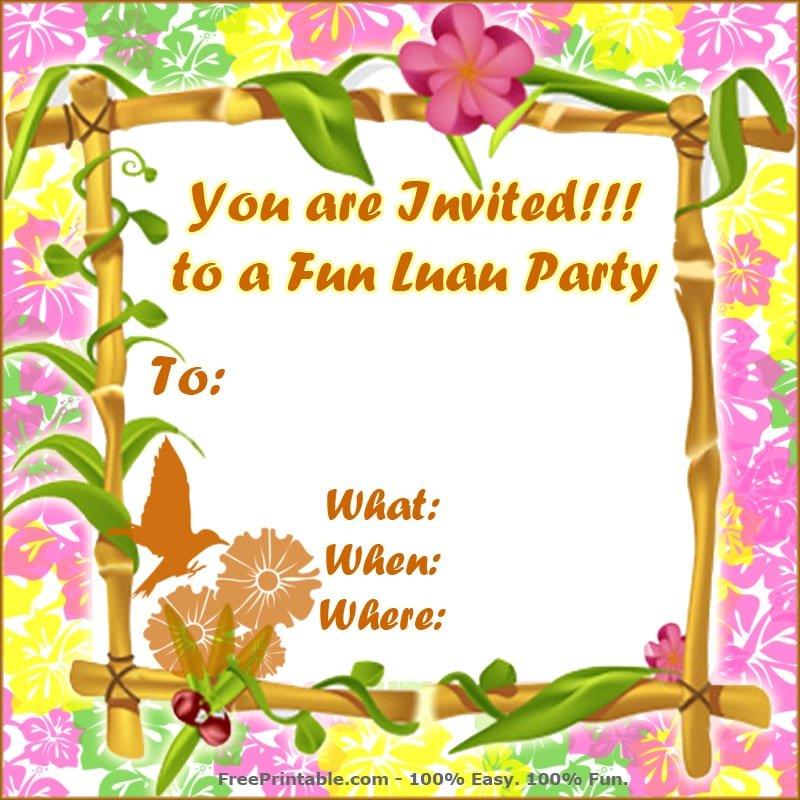 Luau Invitation Free Printable
