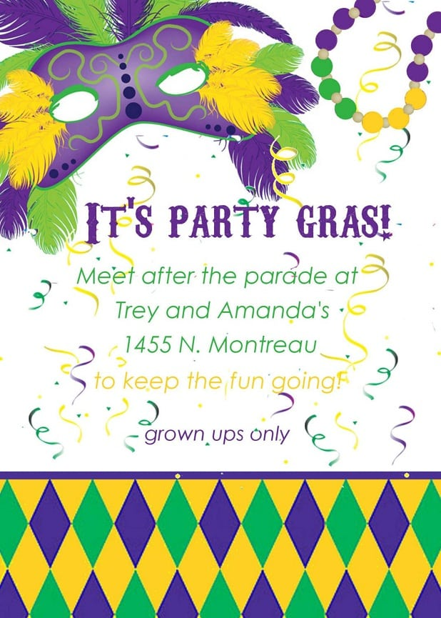 Mardi Gras Party Invitation Template
