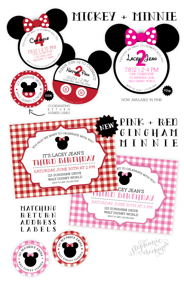 Mickey And Minnie Mouse Invitation