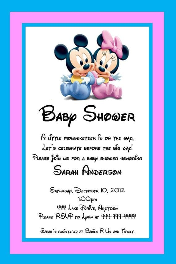Mickey And Minnie Mouse Invitations For Twins