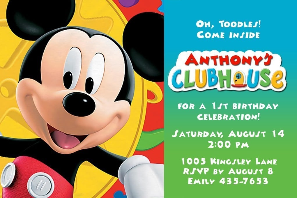 Mickey Mouse Clubhouse Party Invitation