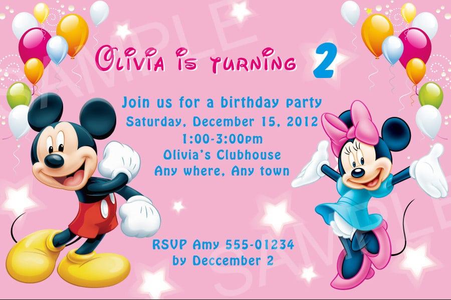 Mickey Mouse Invitation Card