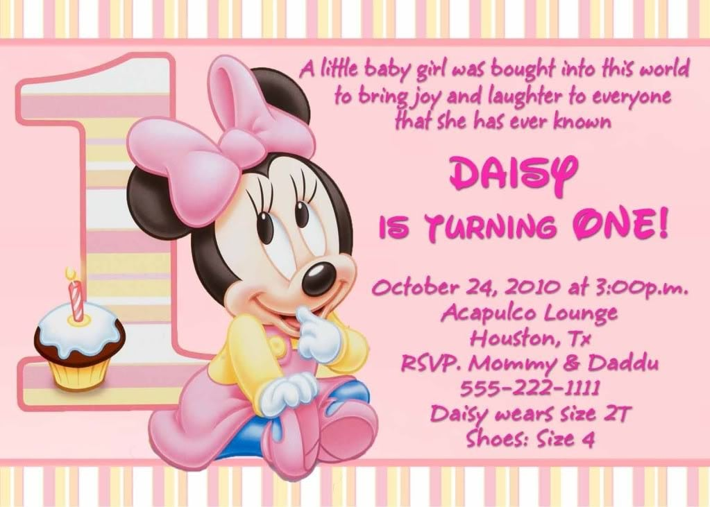 Minnie Mouse 1st Birthday Invitation Template