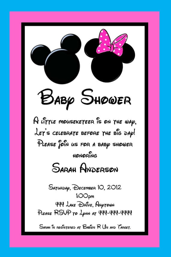 Minnie Mouse Baby Shower Invitation Wording