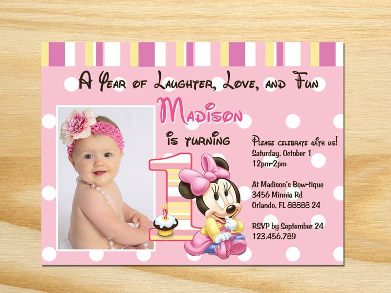 Minnie Mouse First Birthday Invitations Etsy
