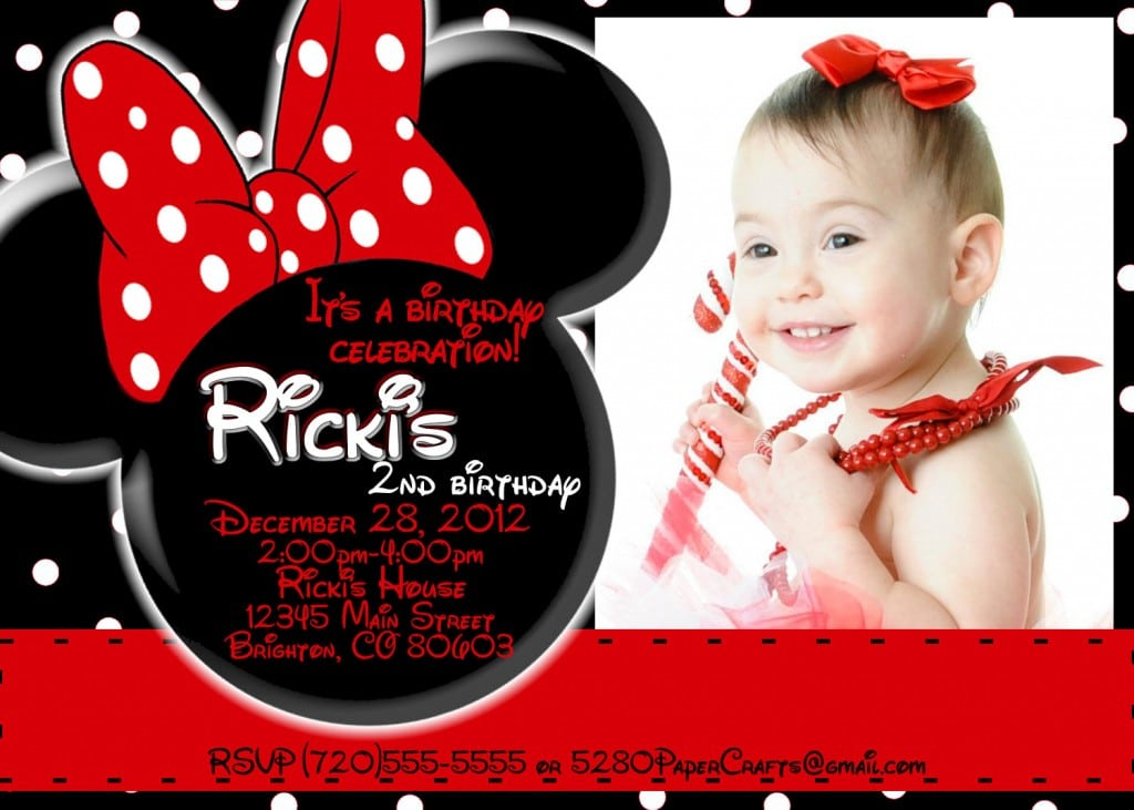 Minnie Mouse Party Invitation For 1st Birthday