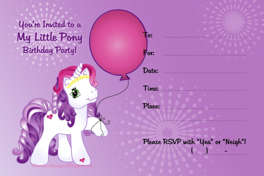 It is a graphic of Superb Free Printable My Little Pony Birthday Invitations