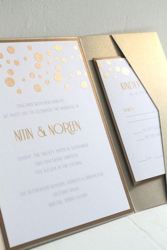 Pocketfold Wedding Invitations Etsy