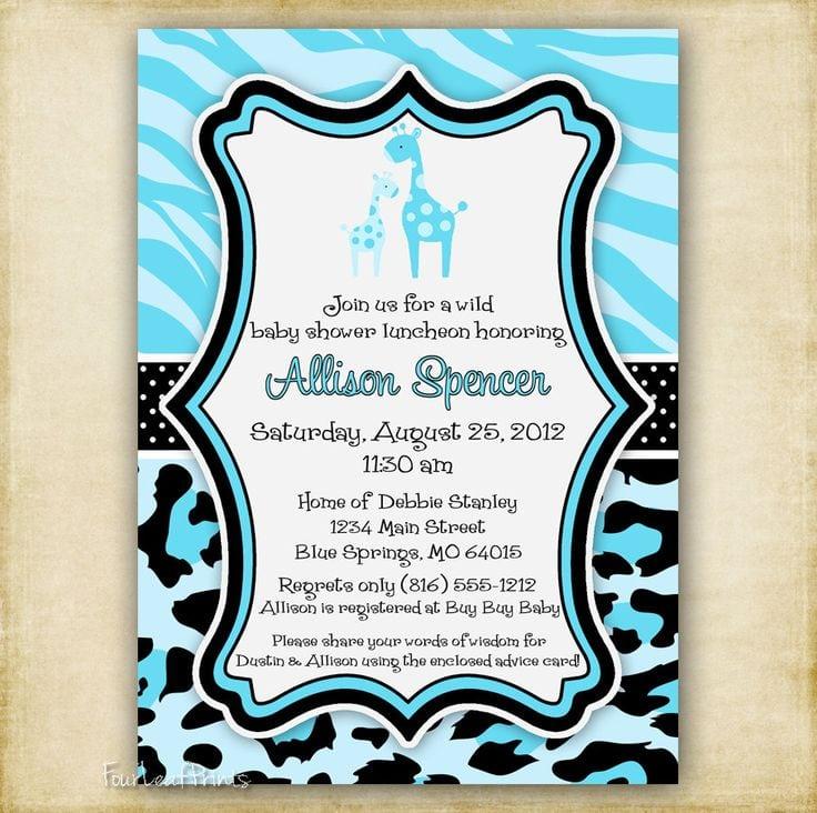 Printable Blue Zebra Themed Invitation