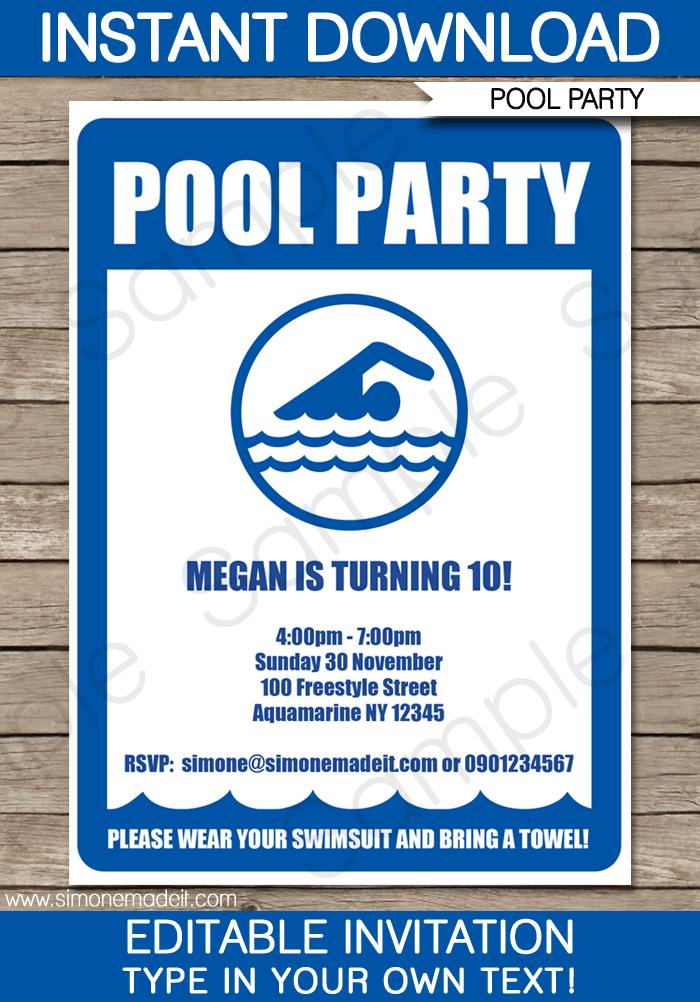 free printable boy pool party invitation