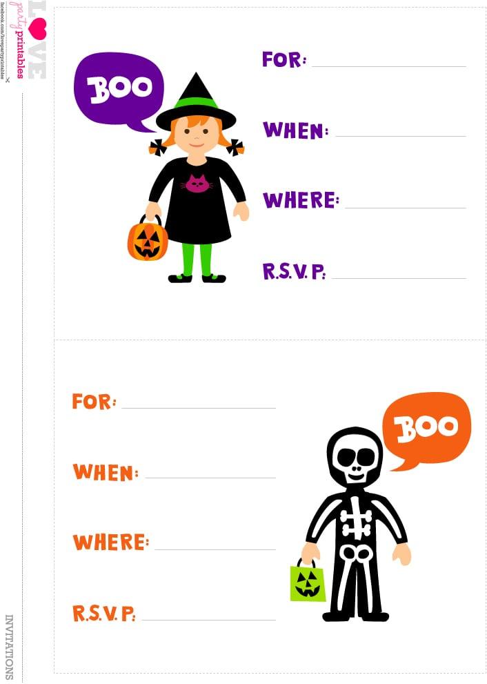 Printable Halloween Birthday Party Invitations