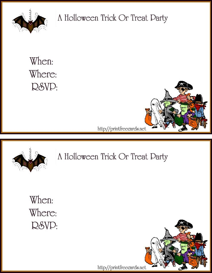 Printable Halloween Invitation Cards