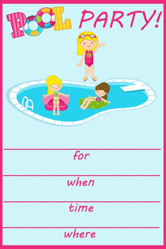 Printable Invitation Cards Pool Party