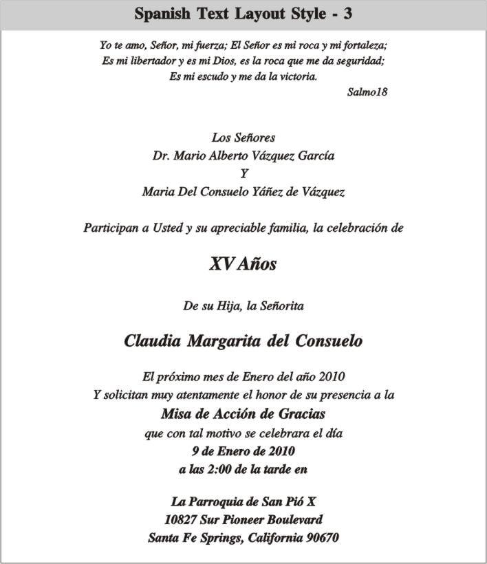 Quinceanera Invitation Wording In Spanish Sample