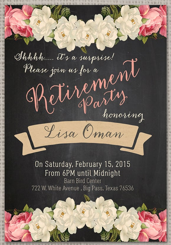 Retirement Party Invitation Template Printable