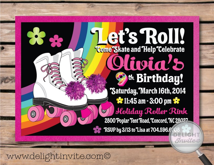 Roller Skating Birthday Invitation Free Template