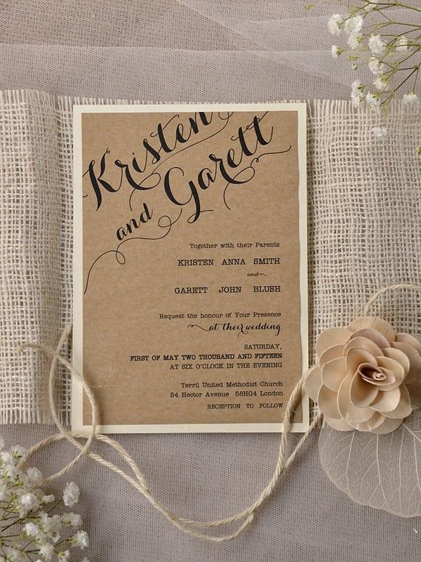 Rustic Printable Wedding Invitation Kits