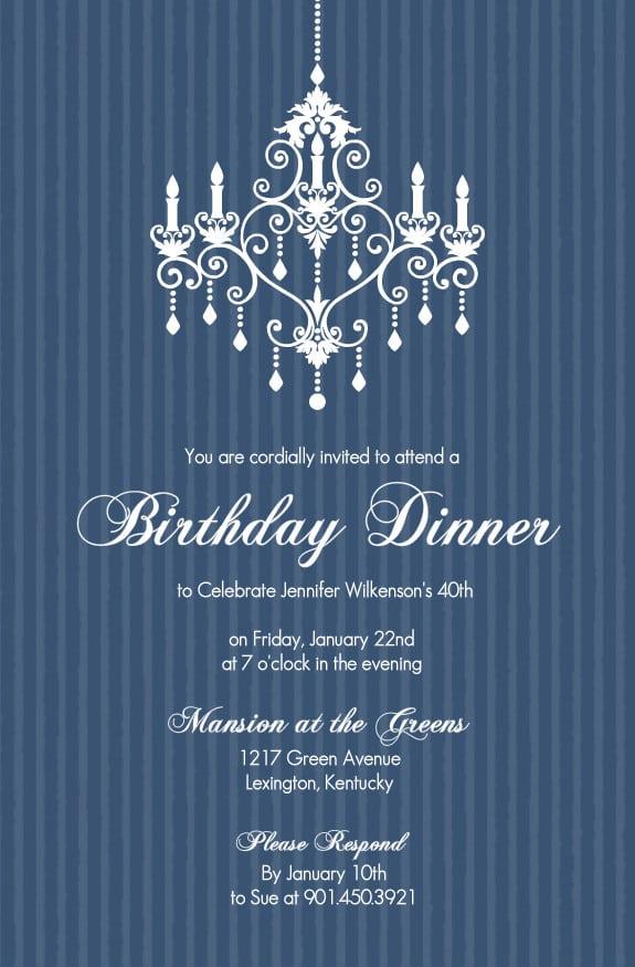 Sample Invitation For Birthday Dinner