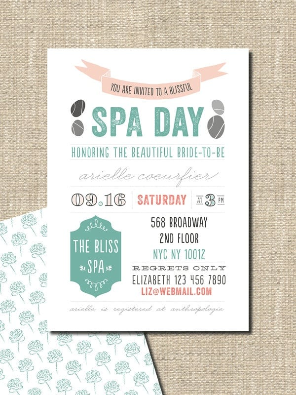 Spa Day Invitation Ideas