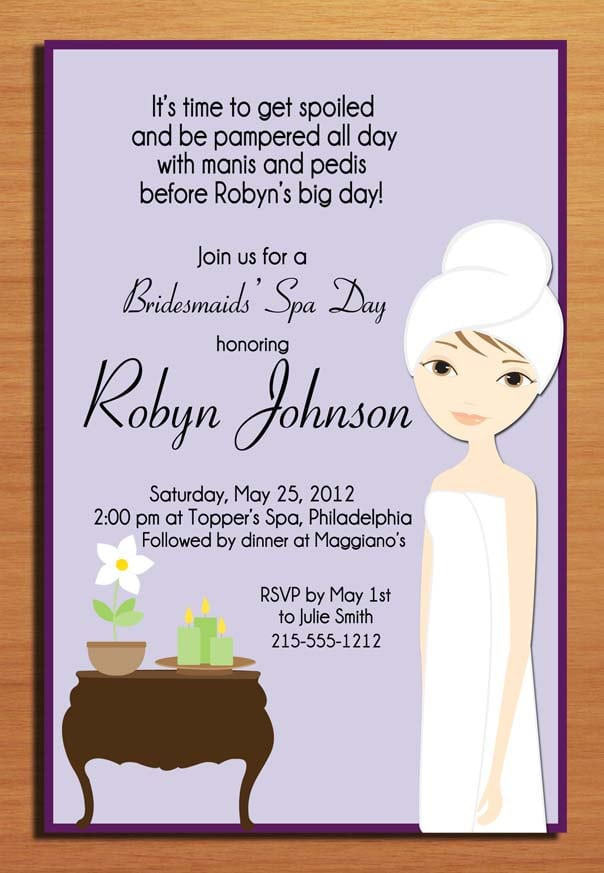 Spa Day Invitation Wording