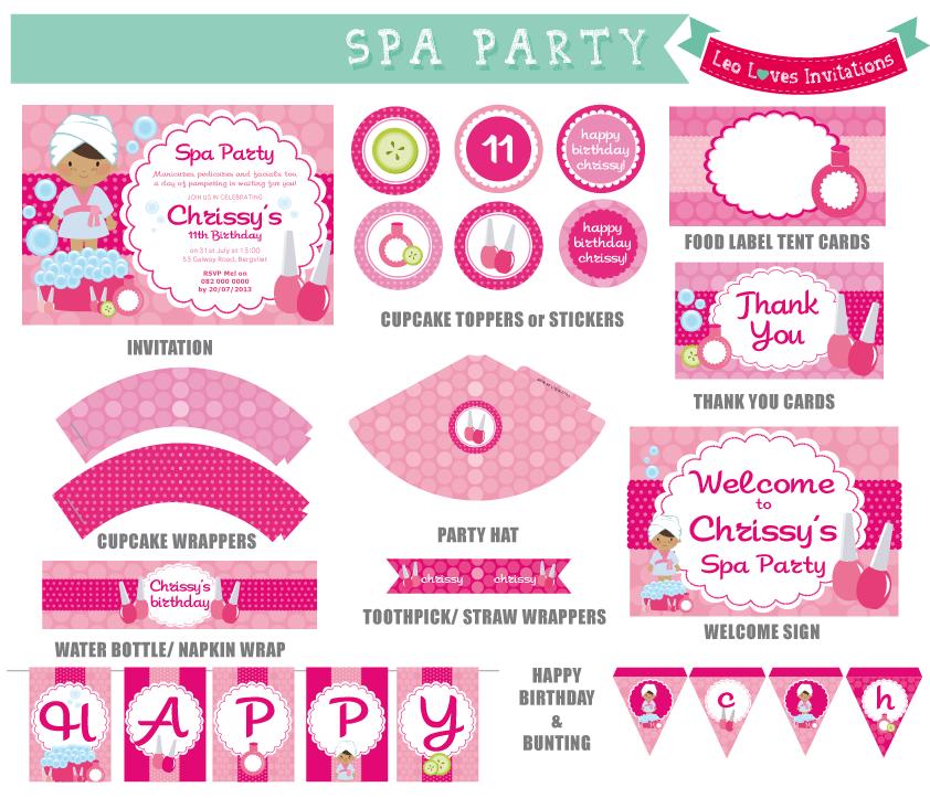 spa party invitation free