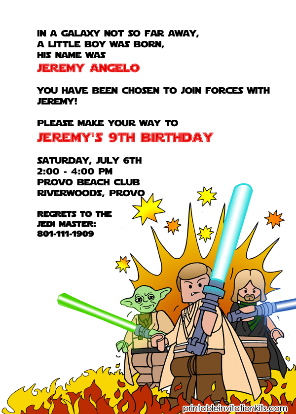 Star Wars Lego Birthday Invitations Printable Free