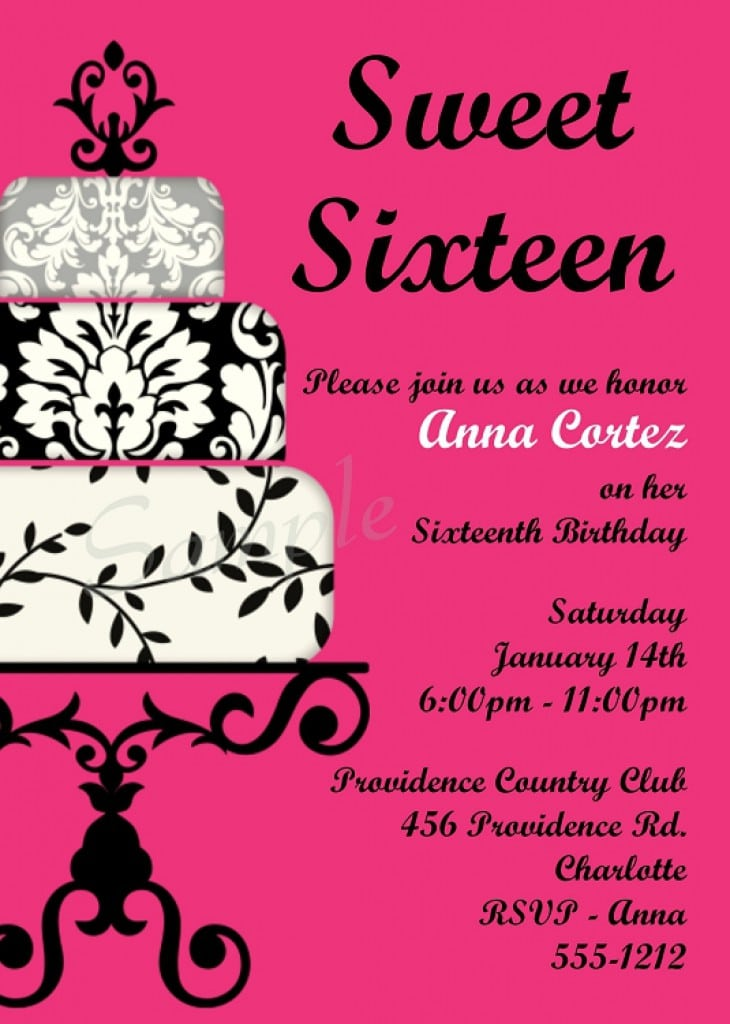 Sweet 16 Invitation Free Templates