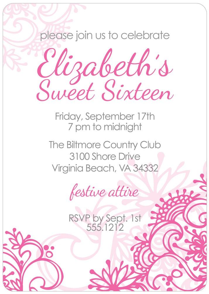 Sweet 16 Invitations Free Online
