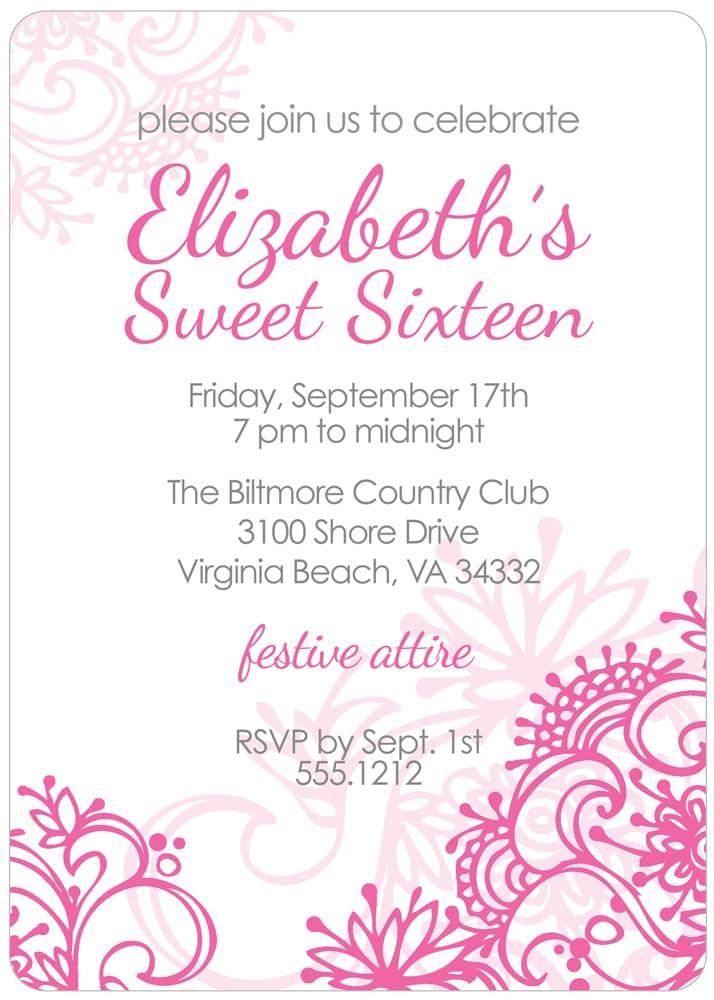 Sweet Sixteen Invitations Cheap