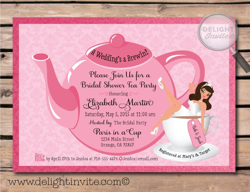 Tea Party Invitation Template Greeting Cards
