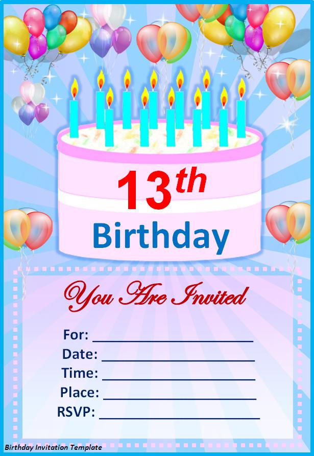 Template For Birthday Invitation For Kids