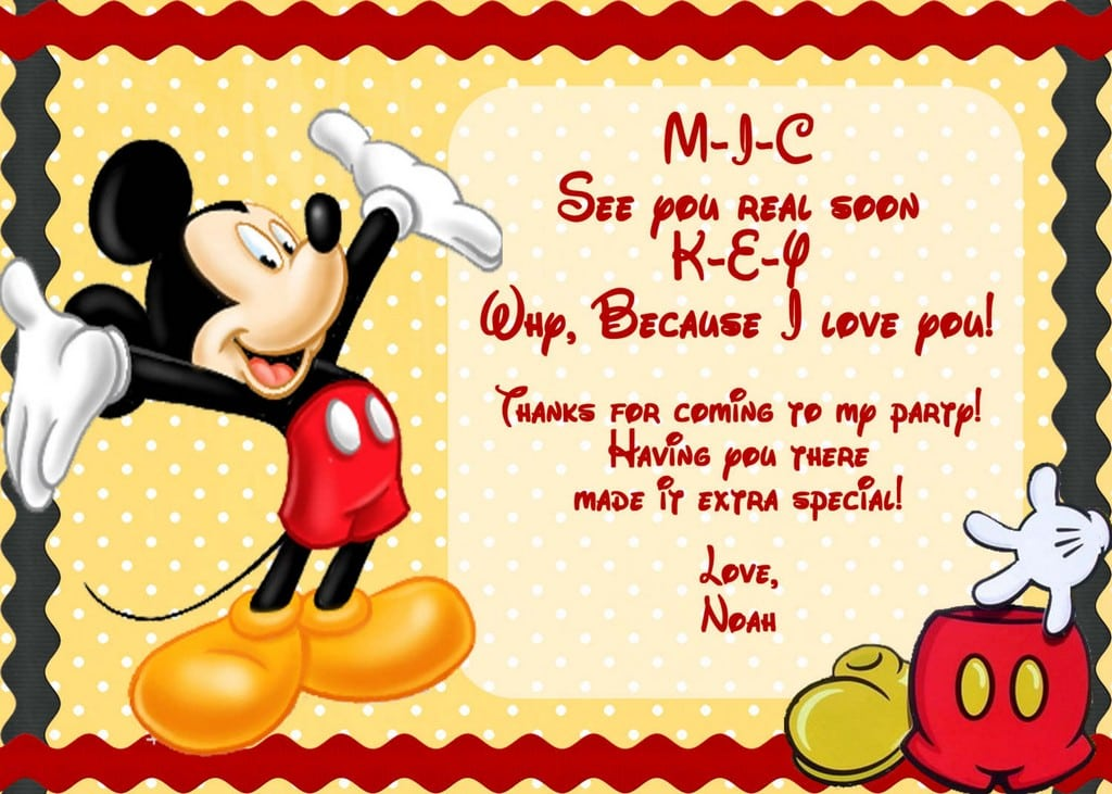 Template Mickey Mouse Invitation