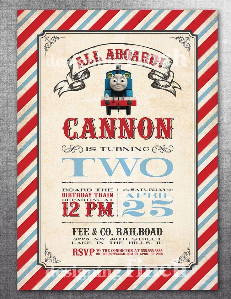 Thomas The Train Birthday Invitations Etsy