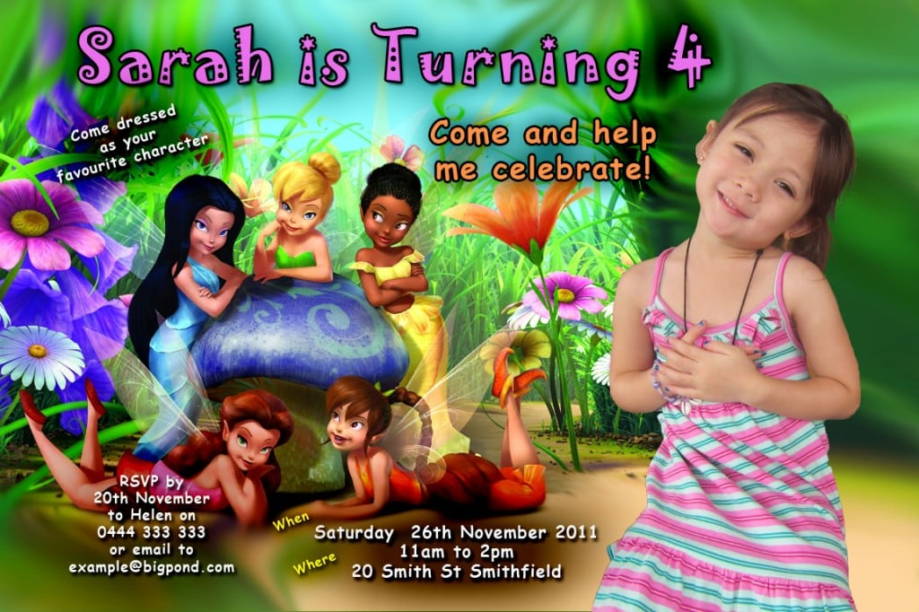 Tinkerbell Birthday Invitations Personalized