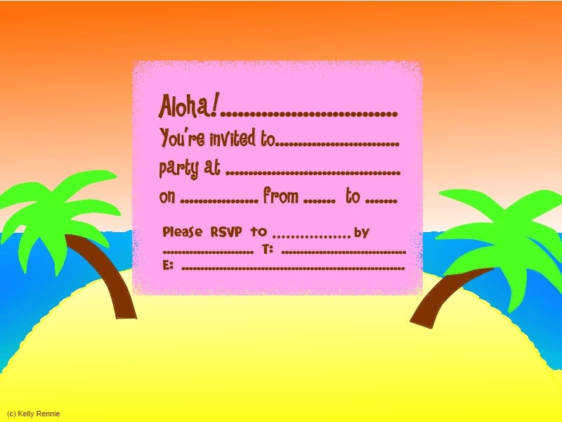 Tropical Themed Party Ideas Free Printables: Free Tropical Party Invitation