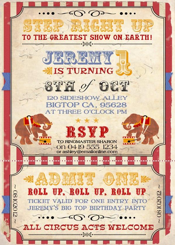 Vintage Circus Invitation Template Free