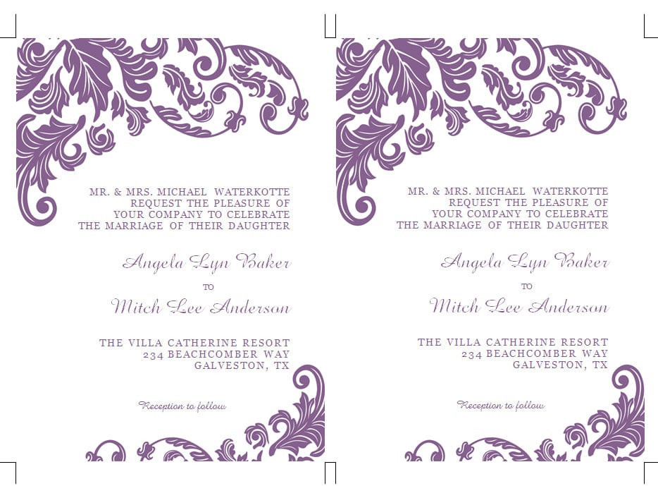 Wedding Invitation Template For Word 2010