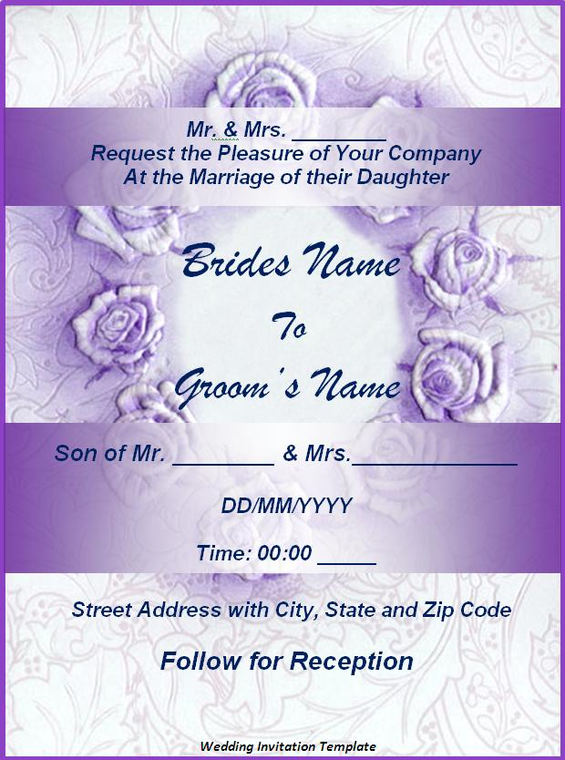 Wedding Invitation Template Free For Word