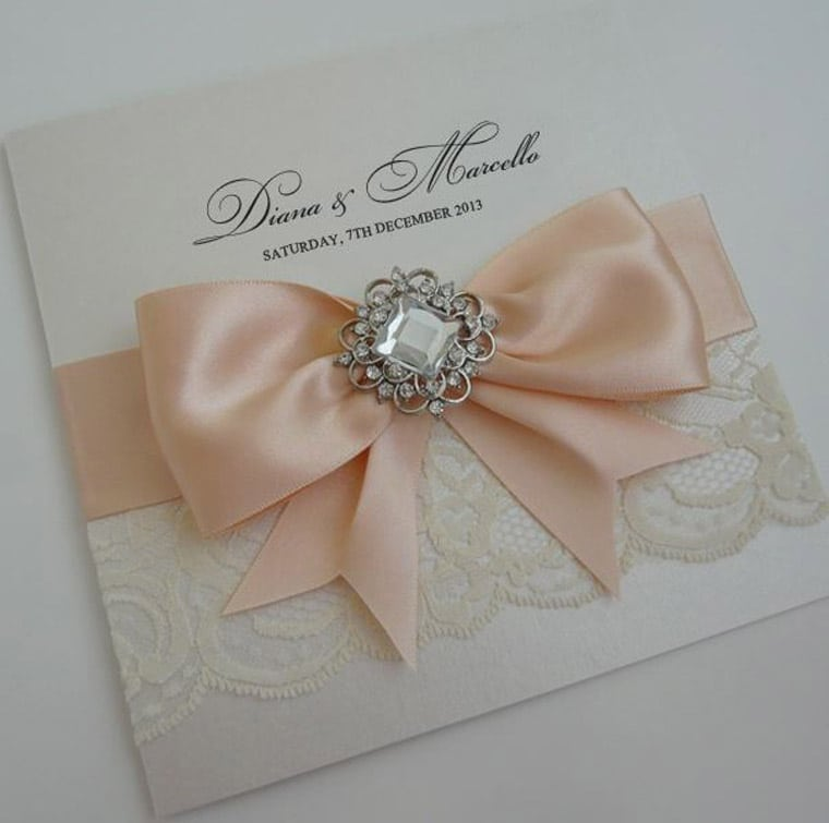 Wedding Invitation With Lace And Ribbon