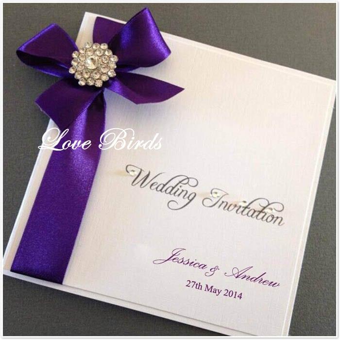 Wedding Invitation With Purple Ribbon
