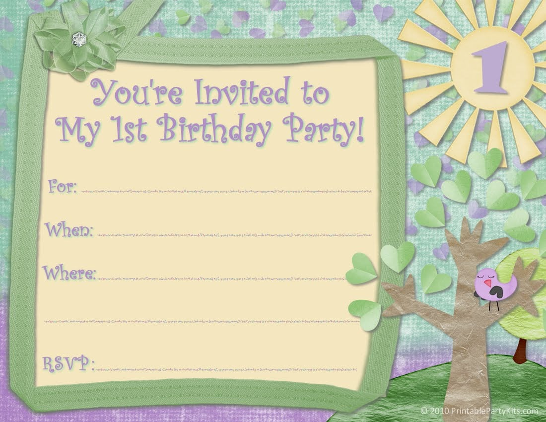 1st Birthday Invitation Template Free