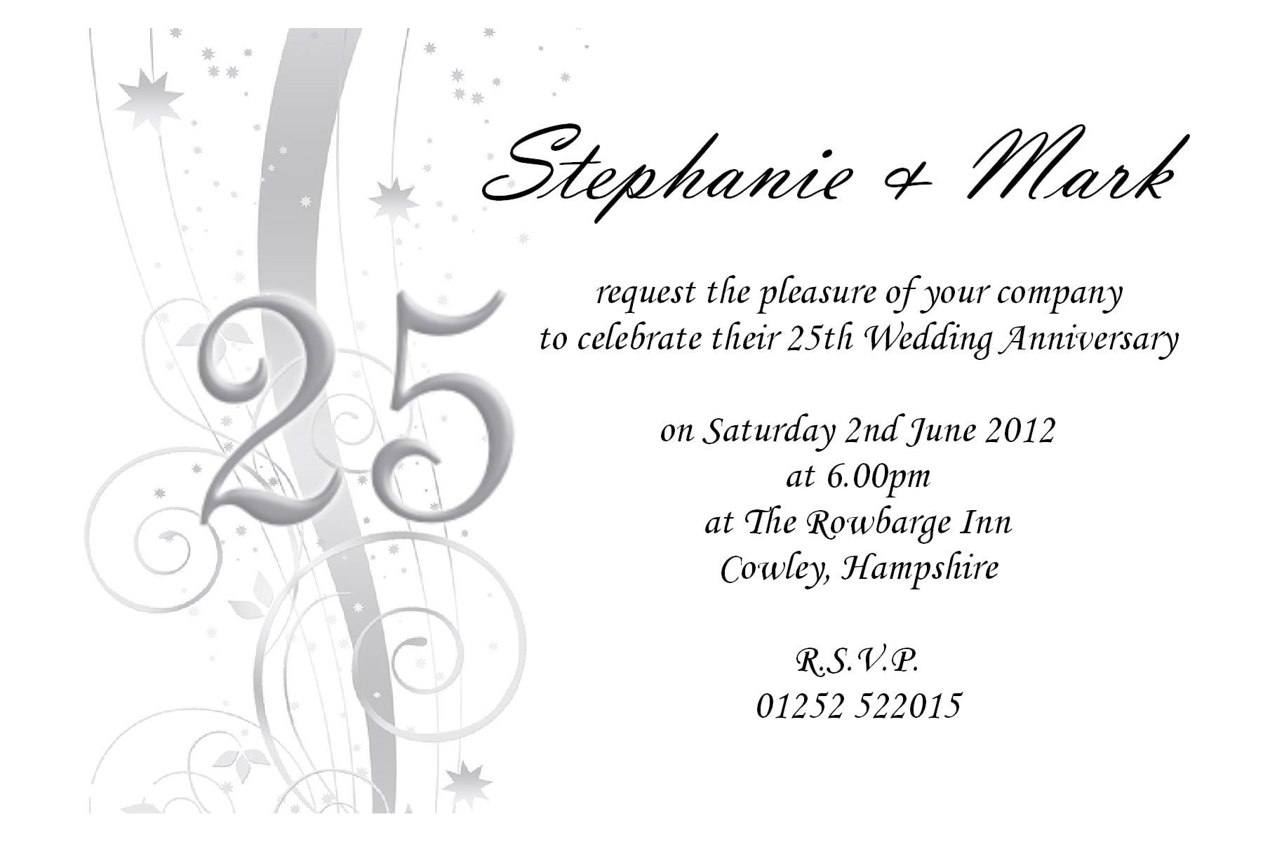 25th Anniversary Party Invitation Template Free